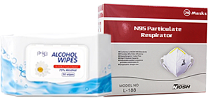 PPE alcohol wipes n95 mask